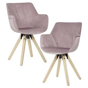 Židle s Opěrkou Růžová 2 ks/sada